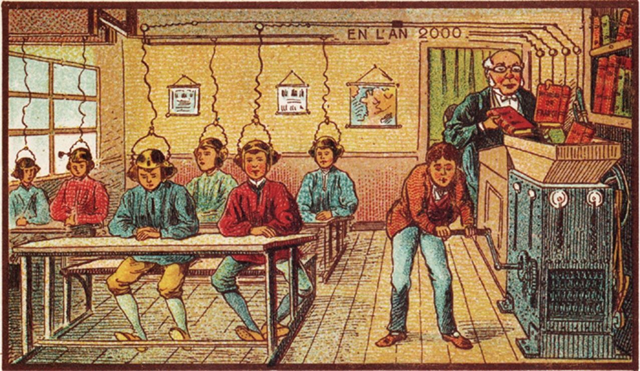 Mokykla 2000 metais. Dailininko Villemardo meninė vizija., Atvirukas, 1910 m., Prancūzija.